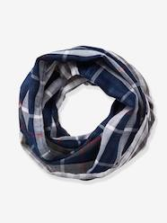Boys-Accessories-Lightweight Scarves & Snoods-Reversible Infinity Scarf for Boys, with Check Motifs