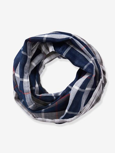 Reversible Infinity Scarf for Boys, with Check Motifs BLUE DARK CHECKS