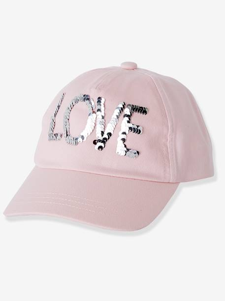Cap with Reversible Sequins for Girls PINK LIGHT SOLID WITH DESIGN
