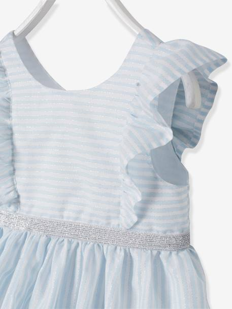 Dress with Iridescent Stripes, for Baby Girls BLUE LIGHT STRIPED