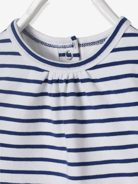 Striped & Printed Bodysuit T-Shirt & Bib for Newborn Babies BLUE DARK STRIPED