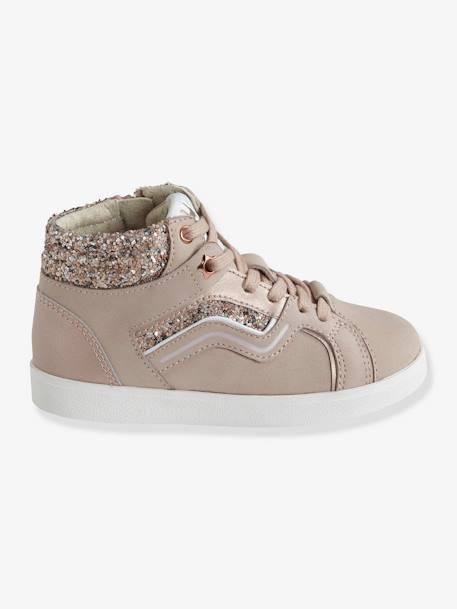 Leather Trainers for Girls, Designed for Autonomy BLACK DARK SOLID WITH DESIGN+PINK LIGHT SOLID WITH DESIGN