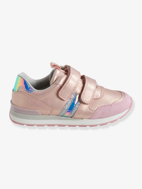 Trainers with Touch-Fastening Tabs, Running-Type, for Girls BLUE LIGHT TWO COLOR/MULTICOL+PINK LIGHT 2 COLOR/MULTICOL R+PINK MEDIUM METALLIZED