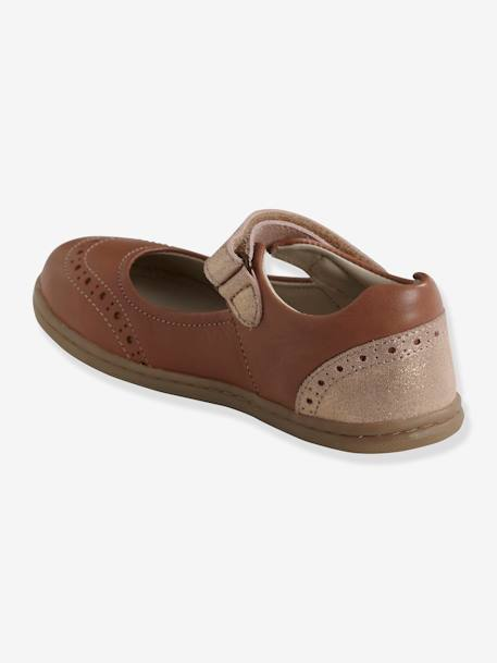 Leather Mary Jane Shoes with Touch-Fastening Tab, for Girls PINK DARK SOLID WITH DESIGN