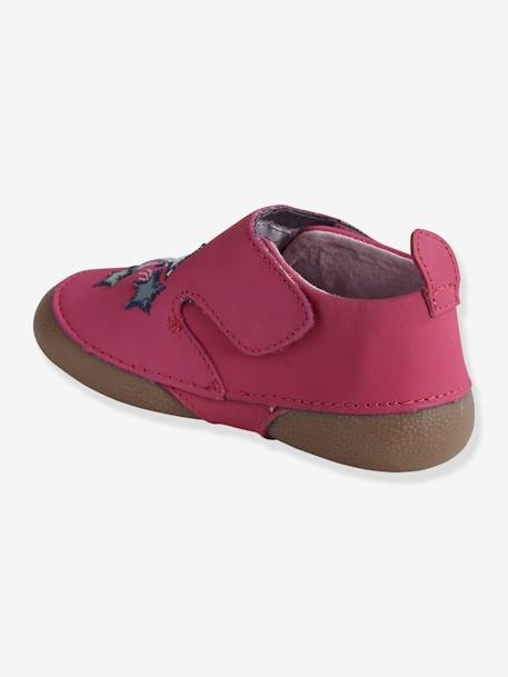 Baby Soft Leather Slippers PINK MEDIUM SOLID WITH DESIG