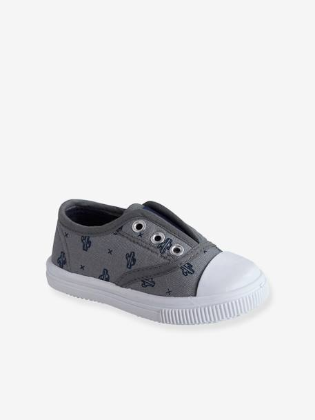 Boys' Fabric Trainers BEIGE MEDIUM SOLID+BLUE MEDIUM ALL OVER PRINTED+BLUE MEDIUM SOLID
