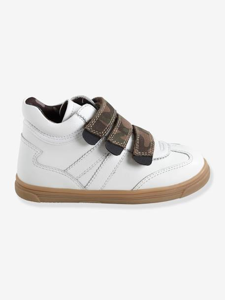 Leather Trainers for Boys, Designed for Autonomy WHITE MEDIUM SOLID WITH DESIGN