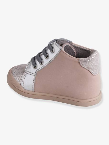 Leather Ankle Boots for Baby Girls, Designed for First Steps BLUE DARK SOLID WITH DESIGN+PINK LIGHT SOLID WITH DESIGN