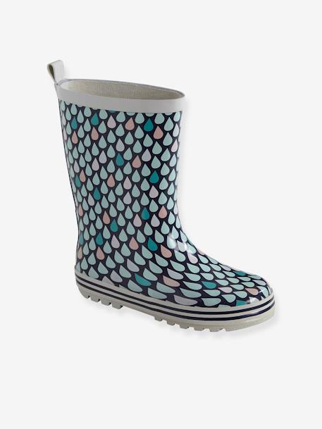 Wellies for Girls BLUE DARK ALL OVER PRINTED