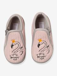 Shoes-Zipped Slippers in Embroidered Velour for Baby Girls