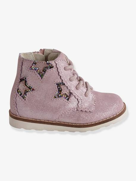Leather Lace-up Boots for Baby Girls BLUE DARK SOLID WITH DESIGN+PINK LIGHT SOLID WITH DESIGN