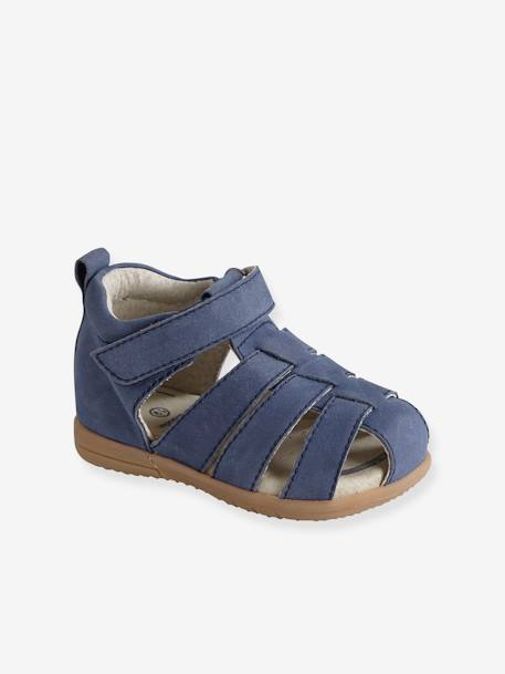 Leather Sandals for Baby Boys, Designed for First Steps BLUE DARK SOLID+BROWN LIGHT SOLID