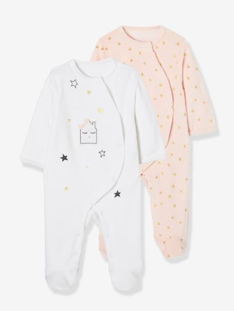 Baby Pack of 2 Printed Velour Pyjamas, Front Press-Studs WHITE LIGHT TWO COLOR/MULTICOL