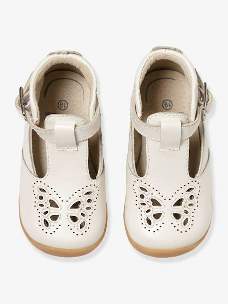 Leather Shoes for Baby Girls, Designed for First Steps PINK MEDIUM METALLIZED+WHITE MEDIUM SOLID
