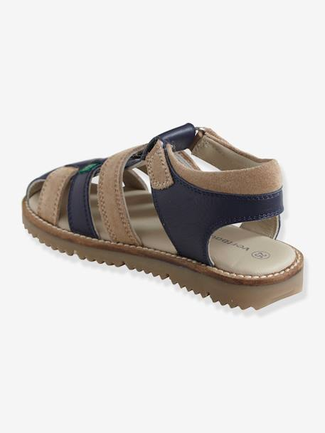 Touch Fastening Leather Sandals for Boys BEIGE LIGHT TWO COLOR/MULTICOL+BROWN MEDIUM SOLID WITH DESIGN