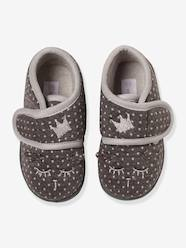 Shoes-Slippers with Touch Fasteners, in Embroidered Velour, for Baby Girls
