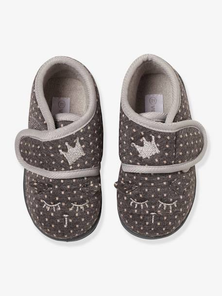 Slippers with Touch Fasteners, in Embroidered Velour, for Baby Girls GREY MEDIUM  ALL OVER PRINTED
