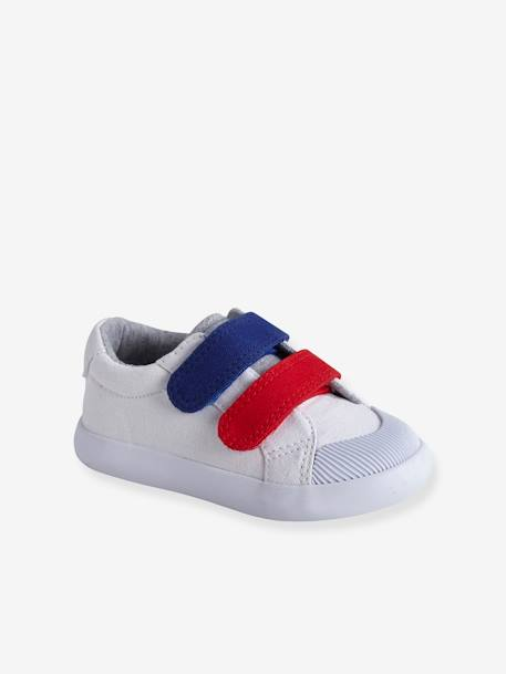 Touch-Fastening Trainers in Canvas for Baby Boys BLUE MEDIUM TWO COLOR/MULTICOL+RED MEDIUM SOLID WITH DESIG+WHITE LIGHT SOLID