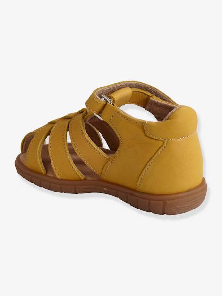Leather Sandals for Baby Boys BLUE DARK SOLID+YELLOW MEDIUM SOLID