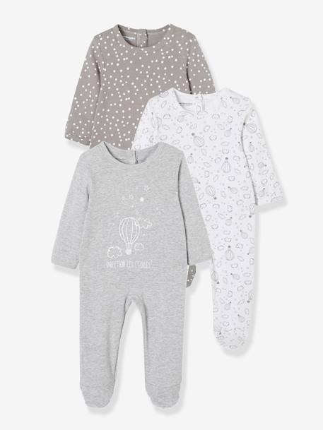 Babies' Pack of 3 Cotton Pyjamas, Press-studs on the Back WHITE LIGHT TWO COLOR/MULTICOL