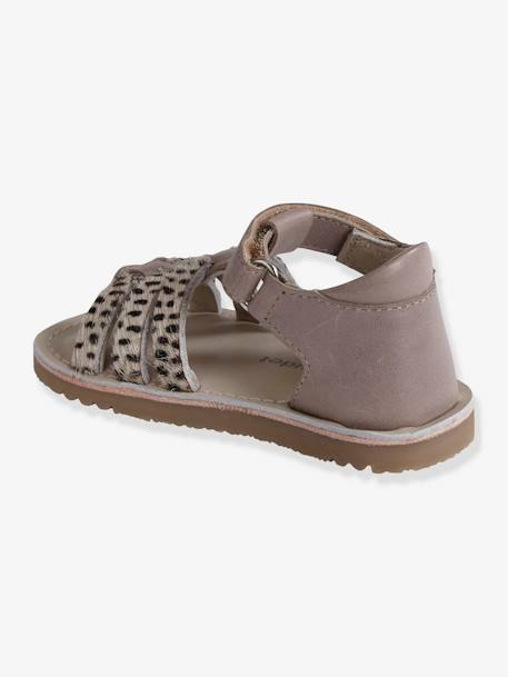 Leather Sandals for Baby Girls BEIGE LIGHT SOLID WITH DESIGN