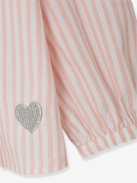 Blouse with Iridescent Stripes for Girls PINK LIGHT STRIPED