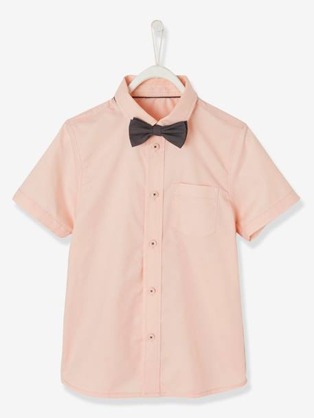 Shirt & Bow Tie for Boys PINK LIGHT SOLID WITH DESIGN+WHITE LIGHT SOLID WITH DESIGN