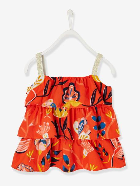 Frilly Top for Girls ORANGE BRIGHT ALL OVER PRINTED+WHITE LIGHT ALL OVER PRINTED