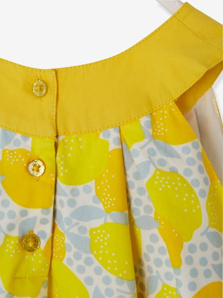 Girls' Dress with Round Neckline and Cutaway Shoulders WHITE LIGHT ALL OVER PRINTED+YELLOW DARK ALL OVER PRINTED