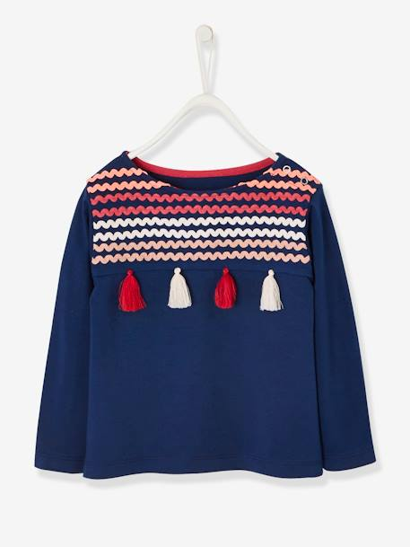 Top for Girls, Decorative Zigzag Ribbons & Tassels BLUE DARK SOLID WITH DESIGN+PINK LIGHT SOLID WITH DESIGN
