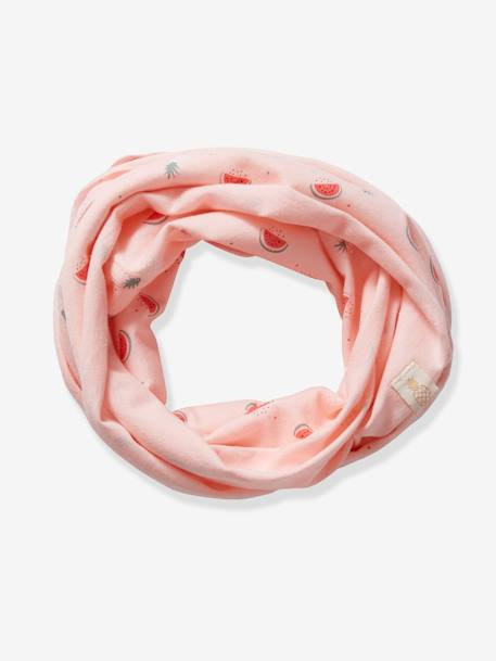 Infinity Scarf with Fruit Motifs for Baby Girls PINK LIGHT ALL OVER PRINTED