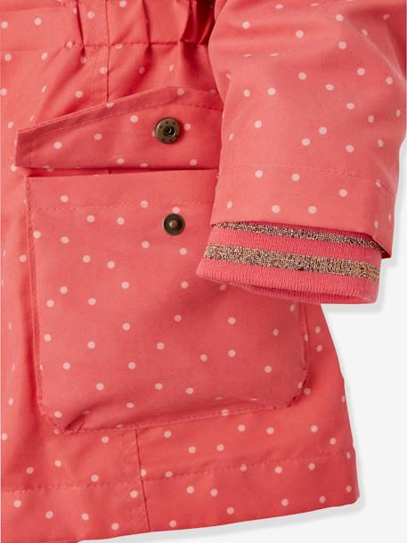 3-in-1 Parka for Girls BLUE DARK SOLID+PINK MEDIUM ALL OVER PRINTED