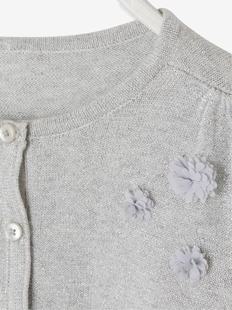 Iridescent Bolero Cardigan for Girls, Flower Appliqués BEIGE MEDIUM SOLID+GREY MEDIUM SOLID+WHITE LIGHT SOLID