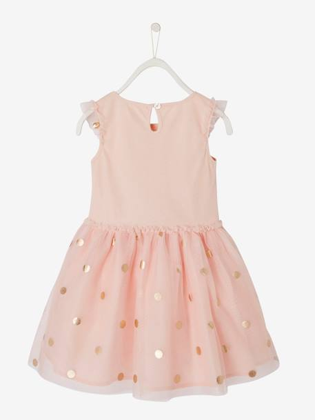 Occasion Wear Dress for Girls, in Tulle with Iridescent Polka Dots PINK LIGHT SOLID WITH DESIGN