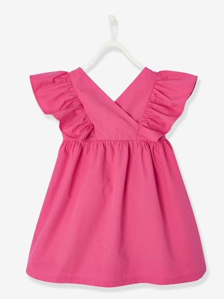 Dress with Ruffles on the Sleeves for Girls GREEN BRIGHT SOLID+PINK BRIGHT SOLID+YELLOW DARK SOLID