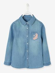 Girls-Blouses, Shirts & Tunics-Denim Shirt with Embroidered Pocket for Girls