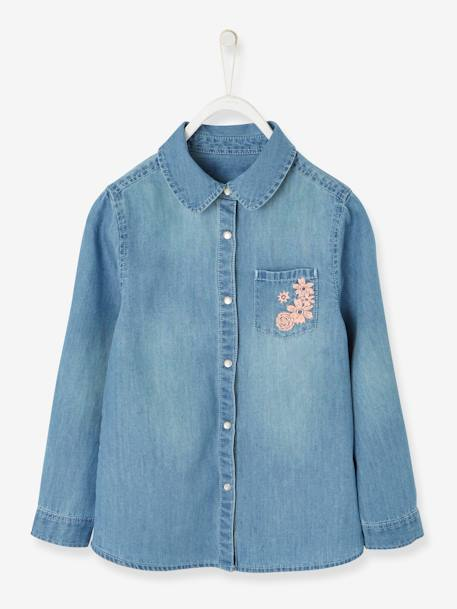 Denim Shirt with Embroidered Pocket for Girls BLUE LIGHT WASCHED