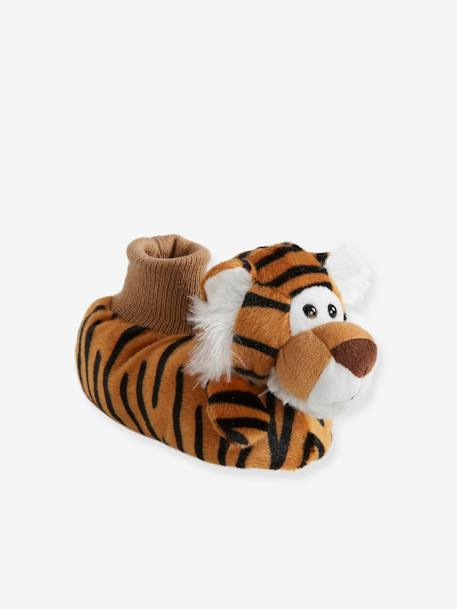 Plush Slippers for Baby Boys BROWN LIGHT SOLID WITH DESIGN