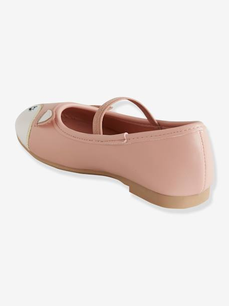 Pretty Mary Jane Shoes in Leather PINK LIGHT SOLID WITH DESIGN+YELLOW BRIGHT SOLID WTH DESIGN