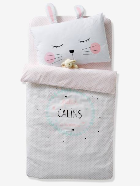 Duvet Cover for Babies, 'CALINS D'AMOUR' Theme WHITE LIGHT SOLID WITH DESIGN