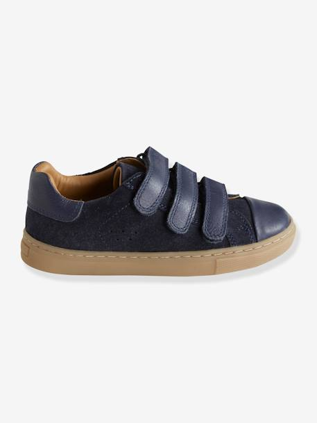 Leather Trainers with Touch 'n' Close Tab for Boys BEIGE LIGHT SOLID+BLUE DARK SOLID