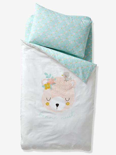 Duvet Cover for Babies, Love in the Forest Theme WHITE LIGHT SOLID WITH DESIGN