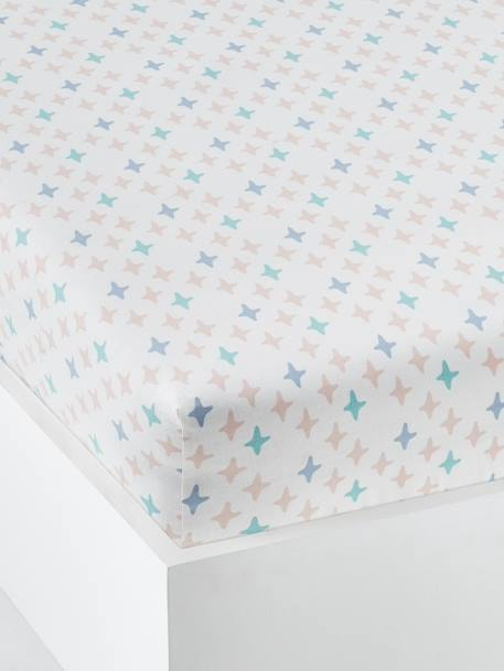 Fitted Sheet for Children, Moonlight Theme WHITE LIGHT ALL OVER PRINTED