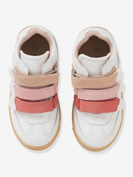 Leather Trainers for Girls, Designed for Autonomy WHITE LIGHT SOLID WITH DESIGN