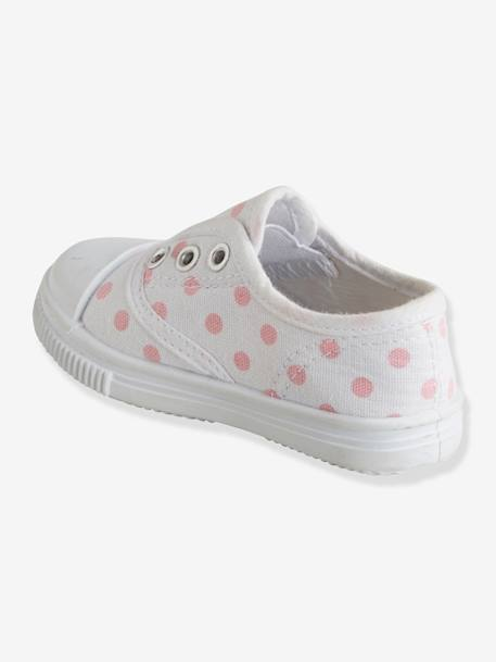 Girls' Fabric Trainers PINK MEDIUM GREYED+WHITE DARK STRIPED+WHITE MEDIUM SOLID WITH DESIGN