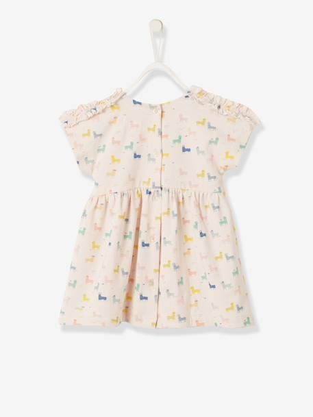 Dress with Llama Print for Baby Girls PINK LIGHT ALL OVER PRINTED