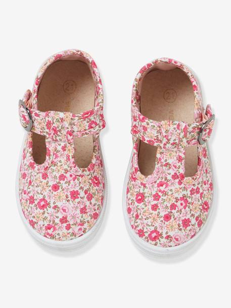T-Strap Sandals for Baby Girls, Designed for First Steps PINK LIGHT SOLID+PINK MEDIUM ALL OVER PRINTED