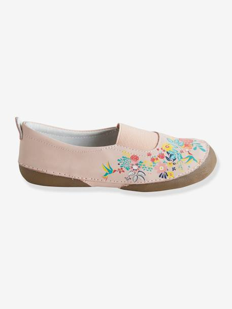 Elasticated Leather Shoes for Girls PINK MEDIUM SOLID WITH DESIG