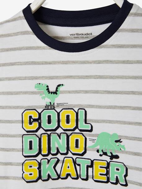 Striped T-Shirt with Fun Inscription, for Boys WHITE LIGHT SOLID