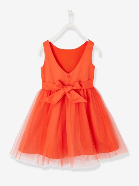 Girls' Sateen & Tulle Occasion Dress Blush+ORANGE BRIGHT SOLID+White